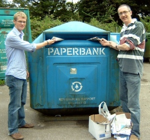 peter and tom using the bins